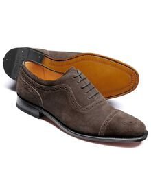 Dark grey Parker suede toe cap brogue Oxford shoes