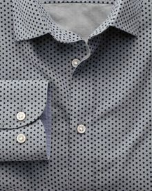 Classic fit navy and grey spot print shirt