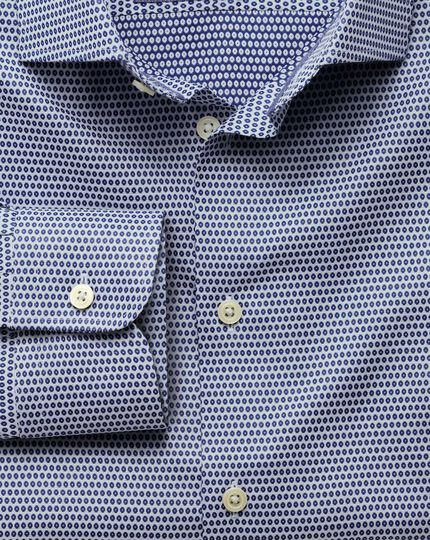 Classic fit semi-cutaway collar business casual double-faced navy shirt