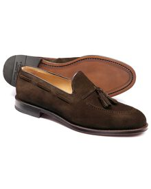 Brown Keybridge suede tassel loafers