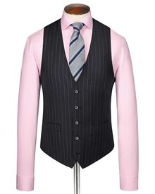Navy stripe twill business suit vest