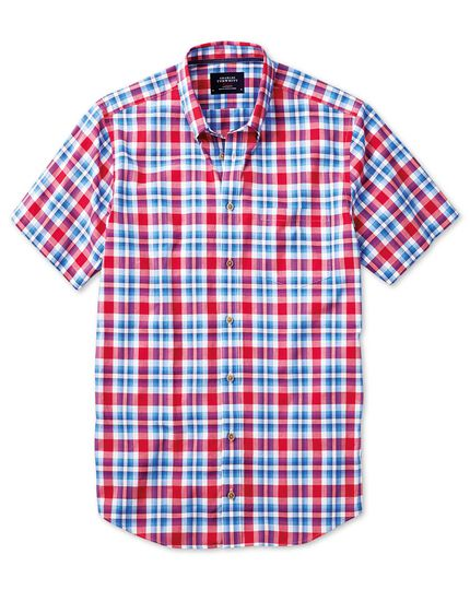 Slim fit poplin short sleeve sky blue and red check shirt