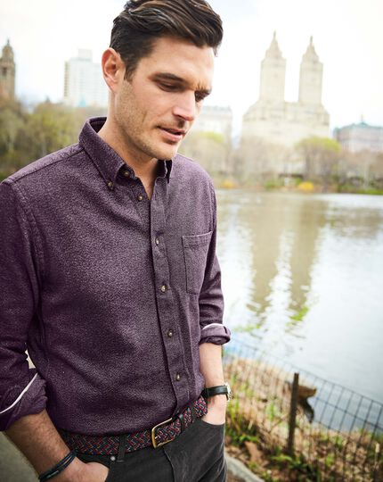 Slim fit dark red Donegal shirt