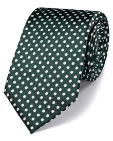 Green and white silk classic Oxford spot tie