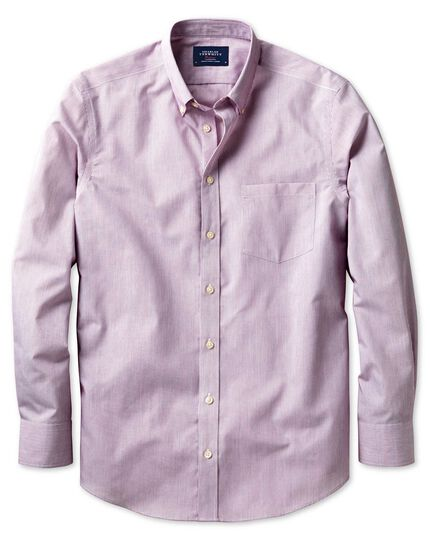 Classic fit non-iron poplin berry stripe shirt