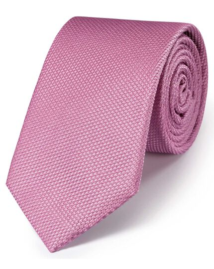 Pink silk classic plain tie