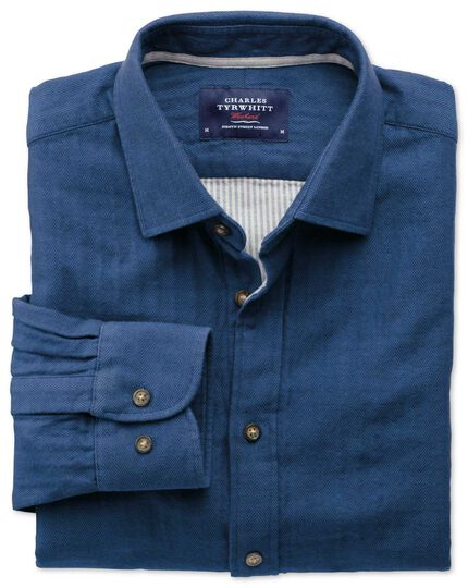 Classic fit blue double face shirt