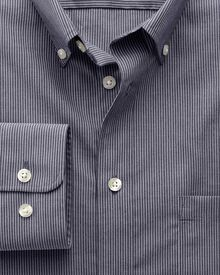 Classic fit non-iron poplin indigo stripe shirt