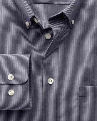 Extra slim fit non-iron poplin indigo stripe shirt
