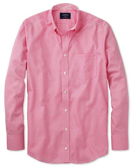 Bügelfreies Slim Fit Oxfordhemd in rosa mit Gingham-Karos