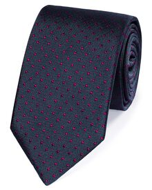 Dark grey and berry silk small spot classic tie