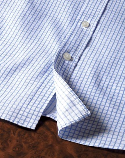 Slim fit twill grid check sky blue shirt