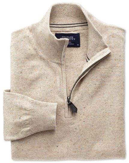 Stone cotton cashmere zip neck jumper