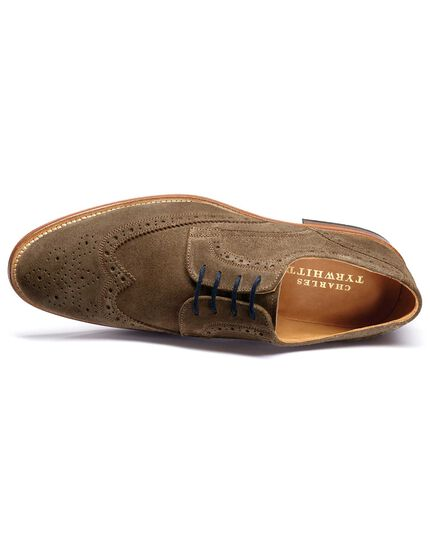 Beige Medlyn suede wing tip brogue Derby shoes