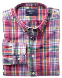 Classic fit pink multi check cotton linen shirt