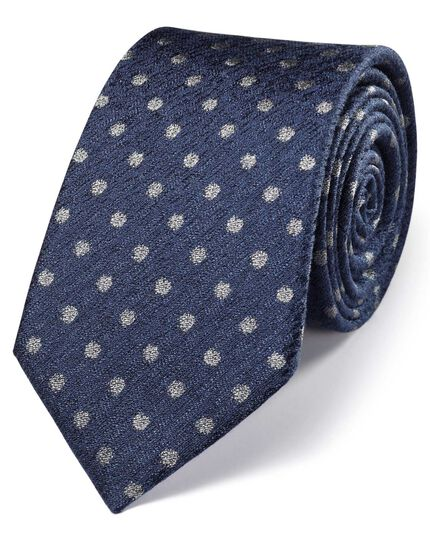 Navy and silver silk classic melange spot tie