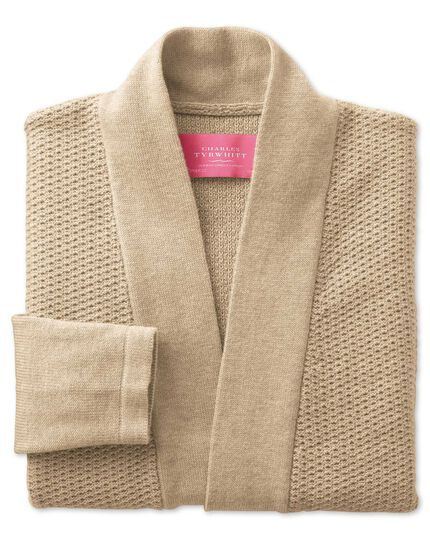 Oatmeal textured long line cardigan