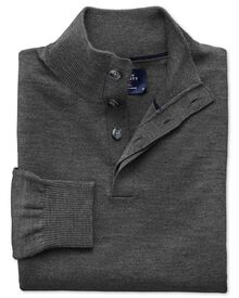 Charcoal button neck merino wool jumper