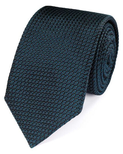 Teal silk plain grenadine luxury tie