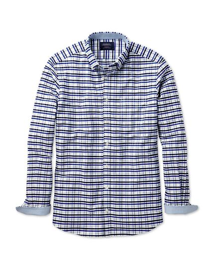 Slim fit navy, blue and grey melange gingham washed Oxford shirt