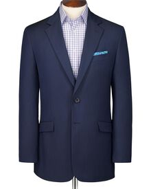 Navy classic fit wool linen suit