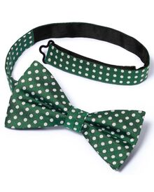 Green silk Oxford spot classic ready-tied bow tie