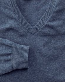 Blue cotton cashmere v-neck jumper