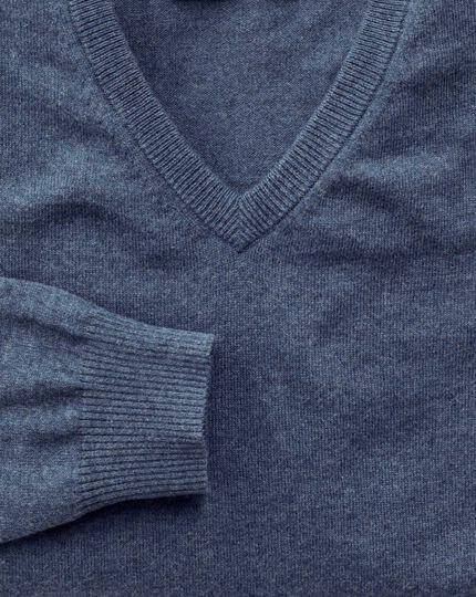 Blue cotton cashmere v-neck sweater