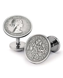 Silver antique six pence cuff links