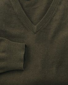 Forest green cotton cashmere v-neck jumper