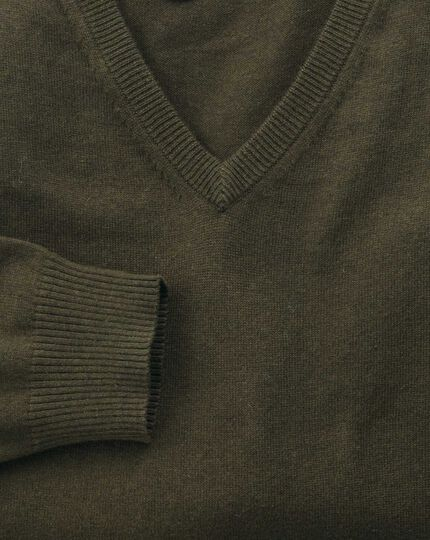 Forest green cotton cashmere v-neck sweater