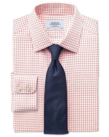 Slim fit non-iron windowpane check orange shirt