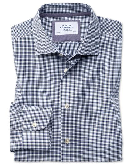 Slim Fit Business-Casual Hemd in Marineblau und Grau mit Gingham-Karos