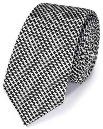 Black and white slim end-on-end wool puppytooth classic tie