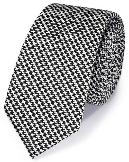 Schmale klassische Krawatte aus Fil-à-Fil-Wolle in Schwarz und Weiß mit Hahnentritt
