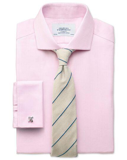Slim fit cutaway collar non-iron herringbone light pink shirt