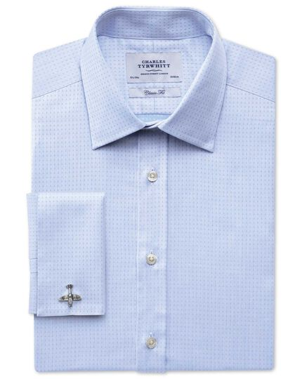 Classic fit Egyptian cotton textured dobby sky blue shirt