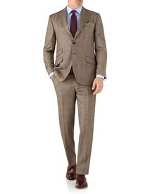 Tan check classic fit British serge luxury suit