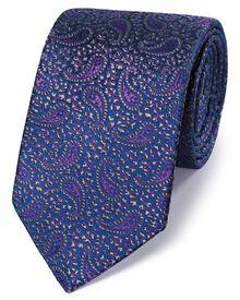 Cravate de luxe bleu marine et violette en soie anglaise à motif cachemire