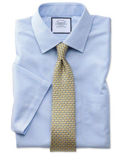 Classic fit non-iron short sleeve bengal stripe sky blue shirt
