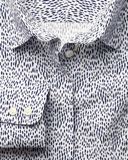 Women's semi-fitted non-iron brush strokes navy shirt
