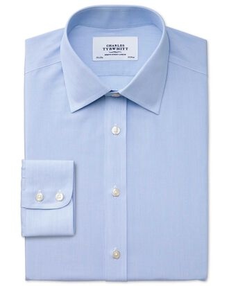 Slim fit non-iron hairline stripe sky blue shirt