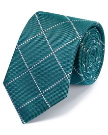Teal classic windowpane check tie