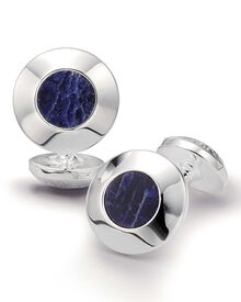 Royal round sodalite cuff links