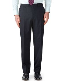 Navy classic fit end-on-end business suit trousers