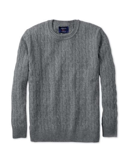Grey lambswool cable knit crew neck jumper