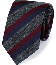 Burgundy silk mix fleck stripe classic tie
