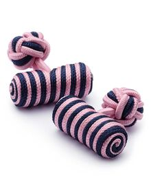 Pink and navy barrel knot cuff links