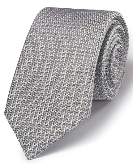 Silver silk luxury Italian grenadine plain tie