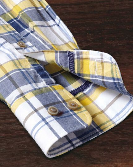 Classic fit button-down poplin navy blue and yellow check shirt